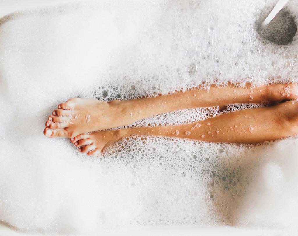 Badewanne mit Schaumbad von oben
